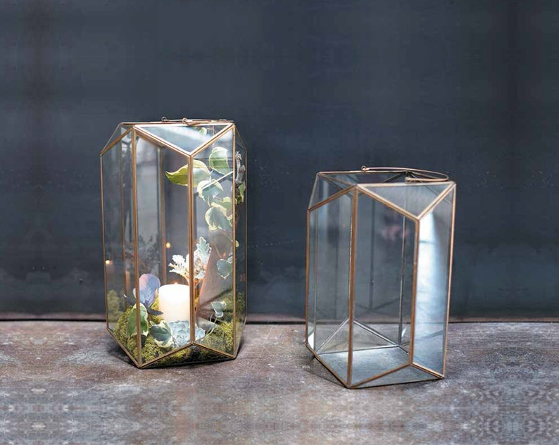 Geometric Glass Terrarium Hanging Air Plant Container Table Etsy