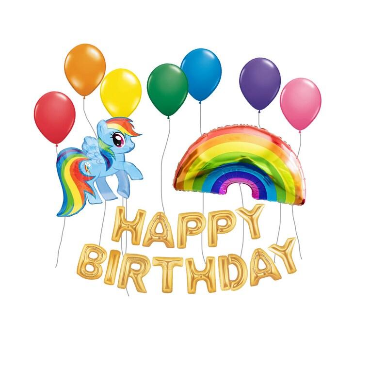 Rainbow Party Decor Dash Rainbow My Little Pony Balloon Kit Rainbow Balloons Girls Party Kids Party Balloon Happy Birthday Balloons