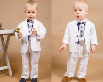 1405efddaac Set of 4 pcs.baby boy outfit Ring bearer outfit Boy wedding outfit Toddler  linen outfit Christening outfit Baptism outfit Linen boy suit