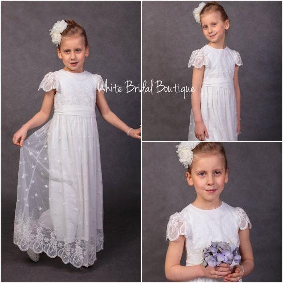 wedding Bridesmaids Lace Flower dress dress Vintage dress Communion Handmade dress First girls Wedding dress dress Europe in dress communion xz6qRW7w4