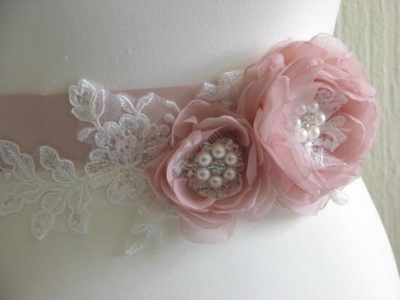 ivory Blush bridal Blush Blush sash bridesmaid sash sash sash ivory ribbon sash sash Blush Ivory flower Blush blush Blush lace ivory Blush BCtSnA