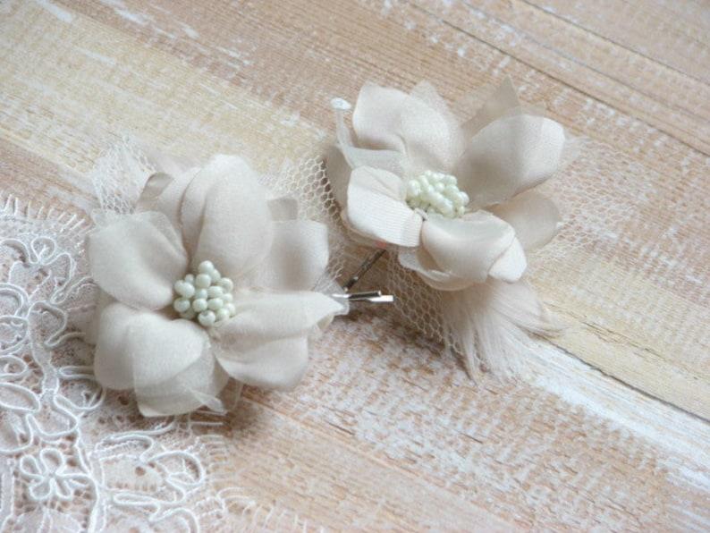 Cream hair flower Wedding hair flower Ivory hair flower Tulle hair flower Champagne hair flower Hair flower Wedding hair piece Ivory flower