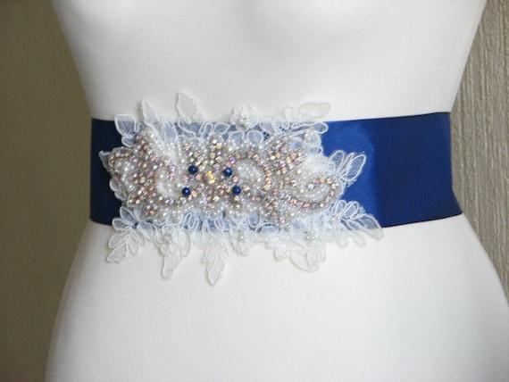 bridal blue blue blue lace sash sash wedding blue sash wedding sash Navy Royal bridesmaids Something wedding Navy Royal Ivory blue Royal qfnT1vxFw