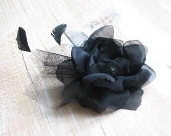 Black hair flower Black fascinator Black hair clips Black hair feathers clips Black tulle headpiece Black flower gift Black hair fasciantor