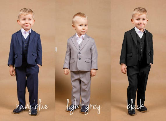 Wedding navy suit Ring bearer outfit Wedding grey suit Wedding | Etsy