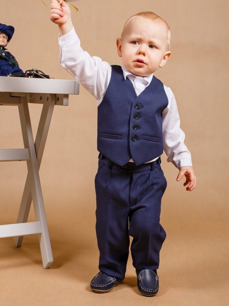 6f9df98c0574 Navy boy suit Ring bearer outfit Wedding boy suit Baby boy