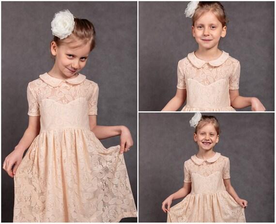 dress bridesmaids dress flower Junior Wedding girls Peach girl dress dress dress lace Wedding dress bridesmaids Ready to Junior ship Peach wqHBHa