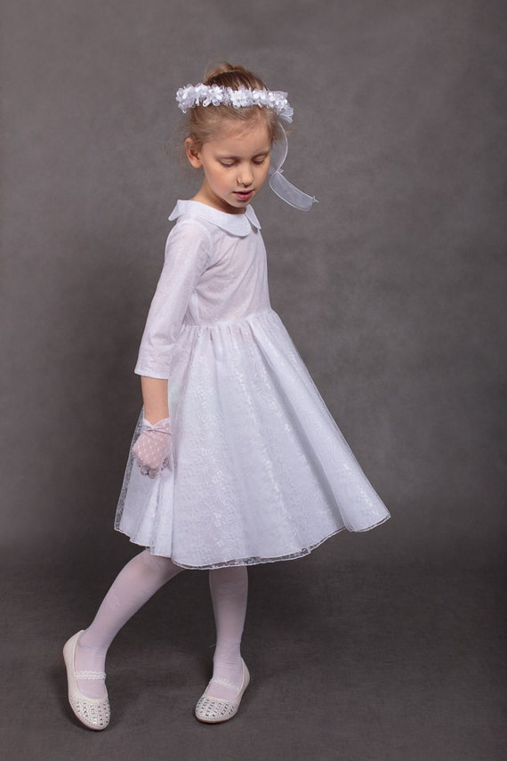dress First Communion White communion Size 8T girl dress lace Flower girls communion White Holy to ship 7T dress Ready dress dress dress wqFOFP