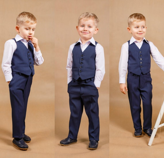 Navy Suit Wedding.Children Suit Navy Blue Wedding Boy Outfit Ring Bearer Suit Baby Suit Wedding Outfit Toddler Suit Navy Blue Wedding Christmas Gift