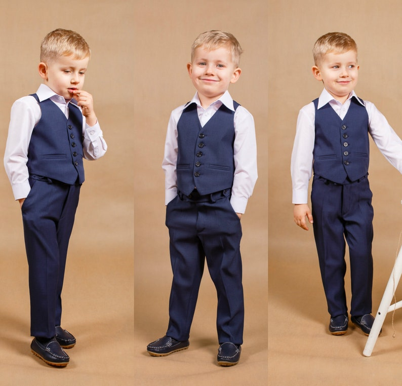 Children Suit Navy Blue Wedding Boy Outfit Ring Bearer Suit Baby Suit Wedding Outfit Toddler Suit Navy Blue Wedding Christmas Gift