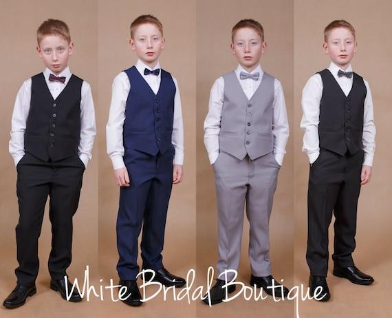 Christening Occasion Wear, Formal Boys Five Piece Light Grey Wedding Suit