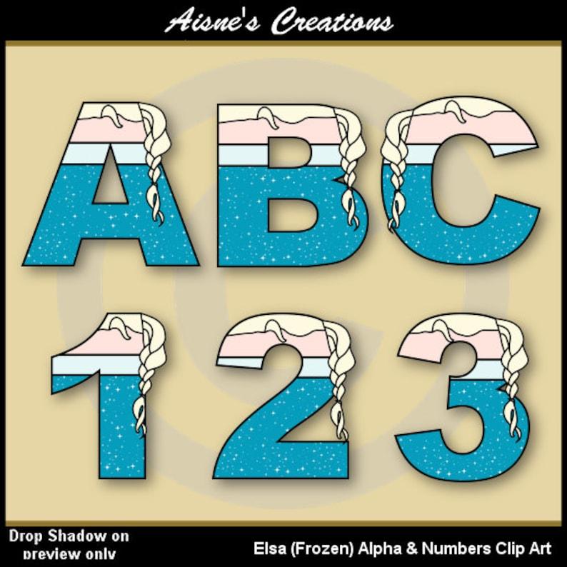 Elsa Frozen Alphabet Letters & Numbers Clip Art Graphics ...