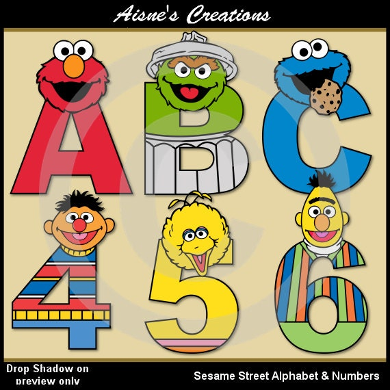 Sesame Street Alphabet Letters Numbers Clip Art Graphics Etsy