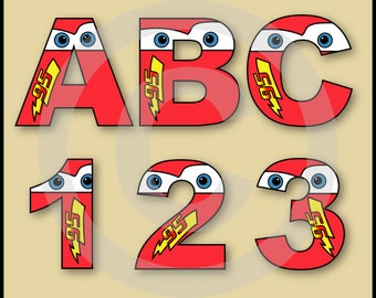 Lightning McQueen (CARS) Alphabet Letters & Numbers Clip Art Graphics