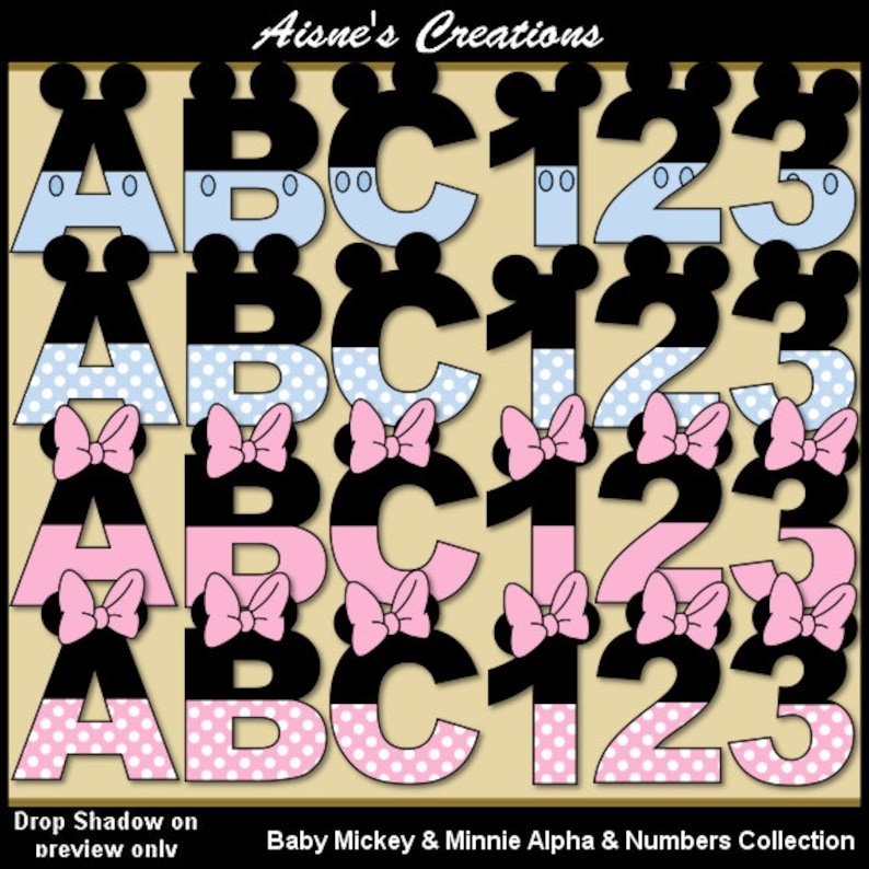 f3cb90cd7 Baby Mickey   Minnie Alphabet Letters and Numbers Clip Art