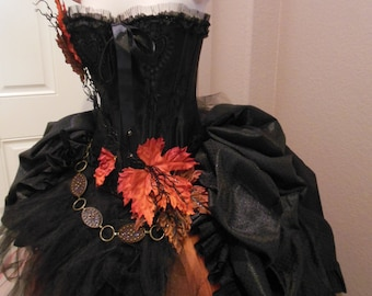 Dante's Inferno Costume, Mother Earth, Fall Leaves Skirt and Corset- SOLD