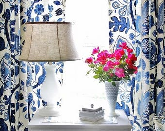 Indigo Blue And Off White Lined Curtains Cobalt Drapes Dining Room Living Draperies Drapery