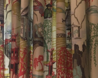 Pagoda Window Panels Fully Lined Asian Flaire East Art Fabric Curtains Drapes Draperies Oriental