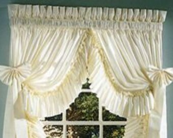 Shabby Chic curtains 200 X 84 long with 1 pair with tiebacks, Prairie ruffles, country ruffles, cabin ruffles, Ruffled originals, Pricillas