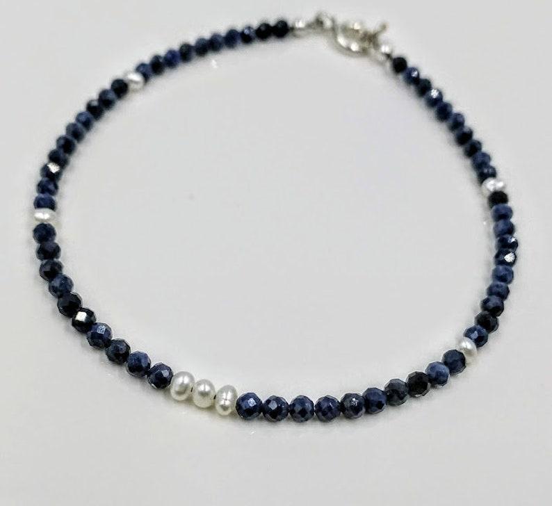 657bc6108 Genuine blue sapphire beaded bracelet freshwater pearl | Etsy