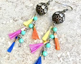 Tassel Earrings - Mini Tassel Earrings - Tassel Dangle Earrings - Boho Tassel Earrings - Eclectic Jewelry - Tropical Earrings