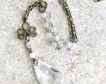 Clear Pendant Necklace - Long Pendant Necklace - Large Pendant Necklace - Clear Necklace - Clear Beaded Necklace - Long Bronze Necklace