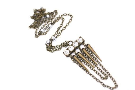 Modern Theme Bronze Statement Necklace Spike Necklace Modern Gift Modern Statement Necklace Simple Statement Necklace