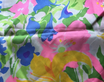 """Vintage Mod Abstract Floral Fabric // 55x45"""" > silky flower power dress fabric"""
