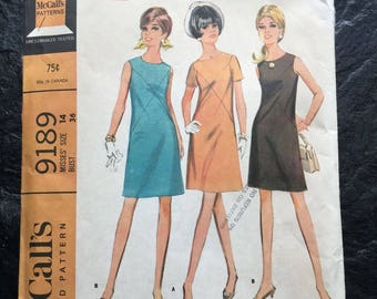 Vintage 1960s Misses' Dress in Two Versions Pattern // McCall's 9189 > size 14 > mini, A-Line
