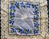 Antique Vintage Hand Painted Fancy Silk Handkerchief Arts Crafts era stencil in blue, green all hand sewn, lace edge