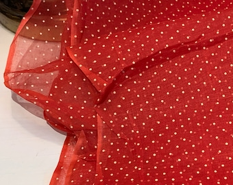 """Vintage Sheer Cherry Red Dotted Swiss Fabric // 51x37"""" + 10x27"""" > bright red cotton organza, lightweight"""