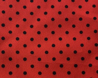 "Vintage Black on Red Polka Dot Fabric // 112x45"" > John Kaldor > London, UK > silky, unused"
