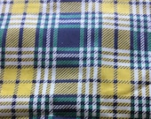 Antique Vintage Cotton Tartan Print Fabric 45x39 quot lemon lime yellow, green, navy blue and white plaid Unused 5 pcs available