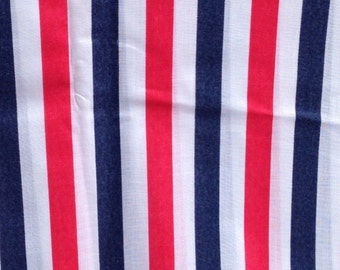 """Vintage Red, White and Blue Stripe Fabric  // 1 yard x 45"""" > by the yard"""