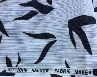 "Vintage Black & White Silky Crepe Fabric // 144x45"", 4 yards x 45"" > John Kaldor > London, UK > Unused"