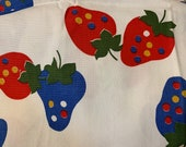 Vintage Mongo Strawberry Cotton Canvas Fabric 37x45 quot big red, blue strawberries, decorator, upholstery weight Unused
