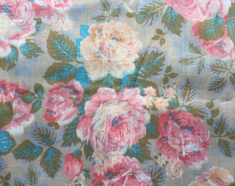 nubbly Vintage Rayon Pleated Curtain Panel  23x72x41  Large Print Floral Decorator Fabric  textured