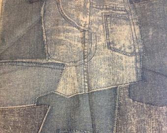 """Vintage Faux Denim Jeans Pockets Linen Fabric // 54x45.5"""" plus > hippy, 1970s > faded indigo"""