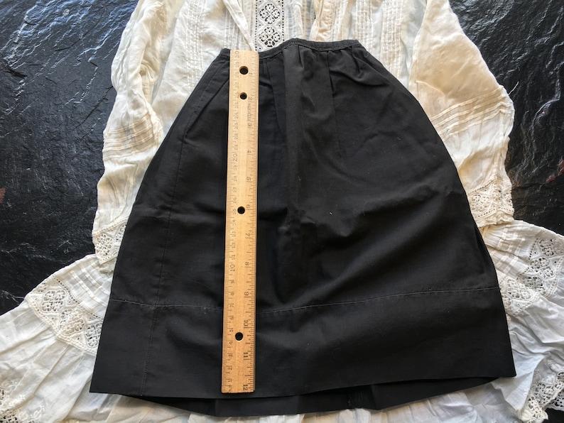 Antique Vintage Doll Petticoat or Skirt  11.5 waist Victorian mourning 13.5 long Edwardian  black cotton 29 around hem  1800s