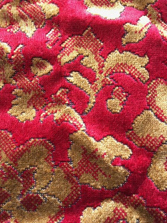Vintage Cut Velvet Upholstery Fabric Scraps Remnant Etsy