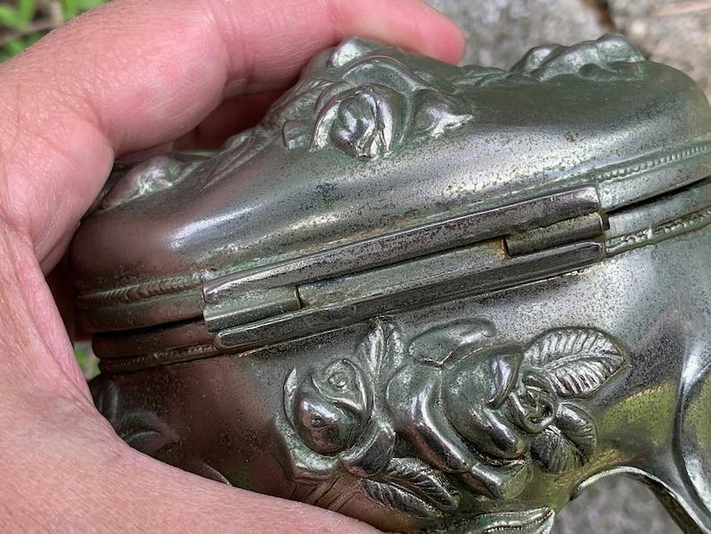 Antique Vintage Art Nouveau Jewelry Box relief roses Casket- Footed Hinged Lid  4.5 x 3.25 x 3.5  silver color cast metal