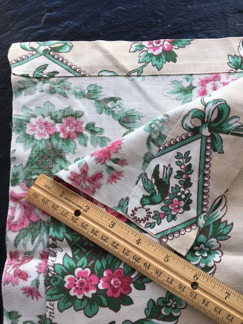 Vintage Bird /& Floral Cotton Decorator Fabric Curtain Panel  78x23.25  Select Vats Glaze-rite