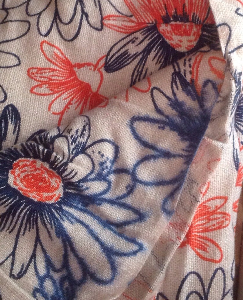 Vintage Floral Printed Linen Fabric  62x44  large orange /& blue daisies printed on linen