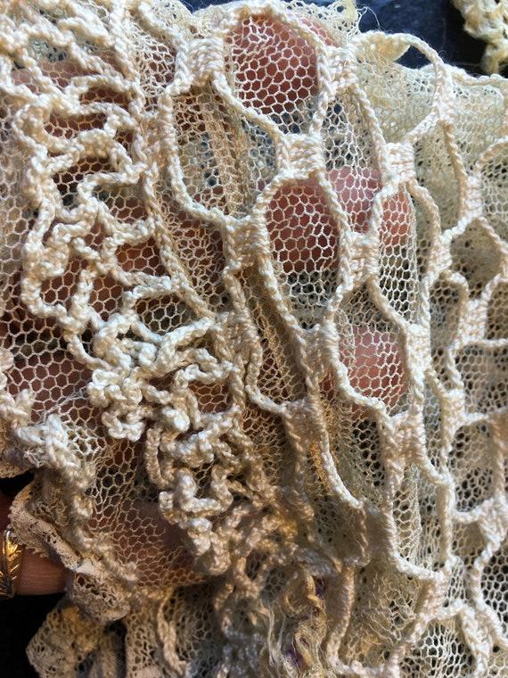 Antique Vintage Crocheted Night Cap Bonnet // Vict