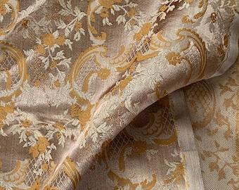 "Vintage Copper Latte Brown Damask Fabric // 116x72"" > decorator satin brocade > milk chocolate, terracotta > scrolling floral, acanthus leaf"