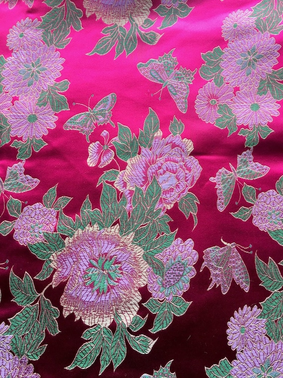 Lg Paisley Roses Floral Cotton Fabric ~  Deep Pink Red Blue Yellow Antique Vtg