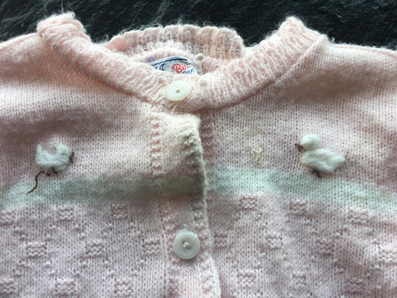 96fcfb8c4 Vintage Mid Century Girl s Pink Cardigan Sweater with Wee