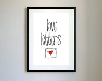 Love Letters Illustration Print.