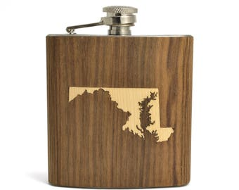 Wood State Flask | Choose your State | Wood Groomsmen Flasks | Bulk Custom Logo Flasks | Handmade Walnut 6 oz. Hip Flask for Groomsmen