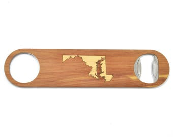 Any State Inlay Bottle Opener | Wood/Stainless Steel Gifts | Beer Gifts | High End Wood Bottle Opener | Maryland or Choose Your State Custom